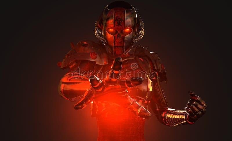 Hoch entwickelter Cyborgsoldat stock abbildung
