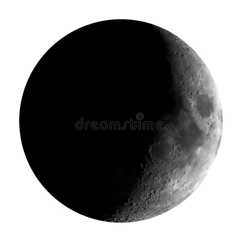 Hochauflösender einwachsender sichelförmiger Mond gesehen mit dem Teleskop, lokalisiert lizenzfreie stockbilder