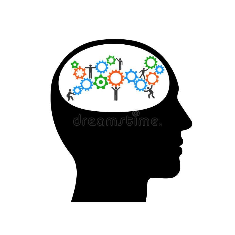 Hochbau mit Arbeitskräften im Schattenbild des Kopfes Denkende Illustration des Profilkopfes mit Gängen innerhalb – Vektors des a lizenzfreie abbildung