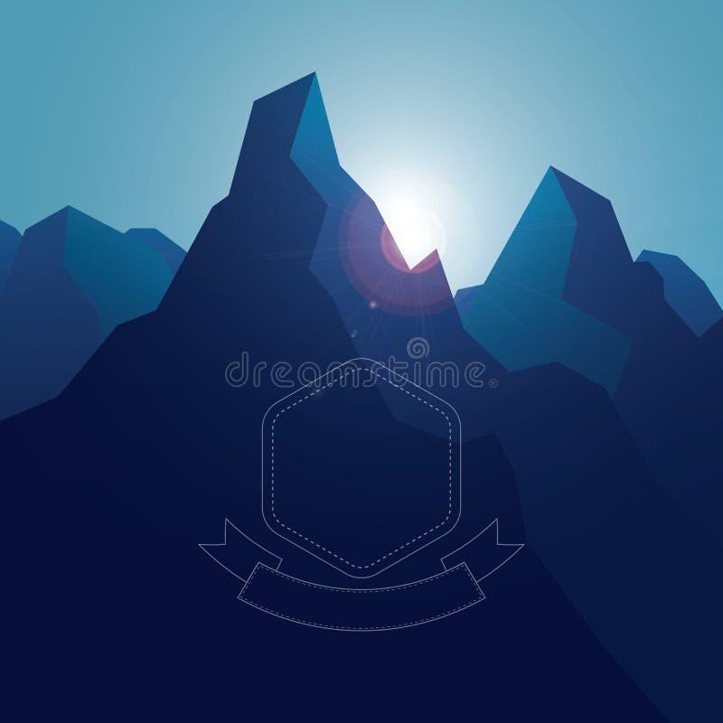 Hochgebirgelandschaftshintergrund mit Blau stock abbildung