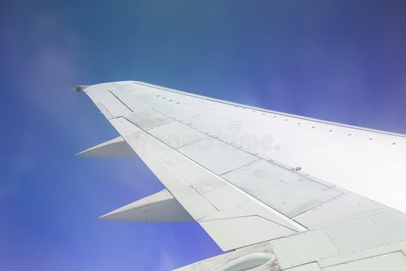 Hochgelegener Flug auf blauen Himmeln lizenzfreies stockfoto