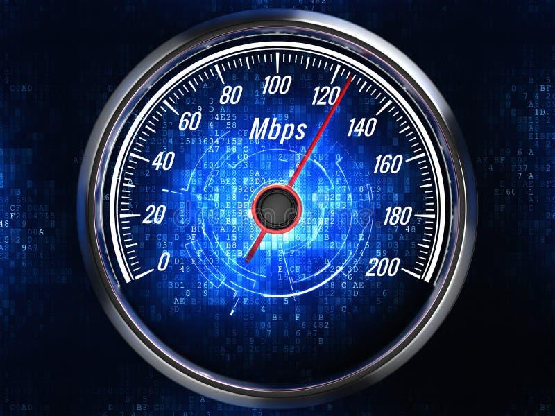 Hochgeschwindigkeitsinternetanschlusskonzept - Geschwindigkeitsmesser mit Internetanschlussgeschwindigkeit lizenzfreie abbildung