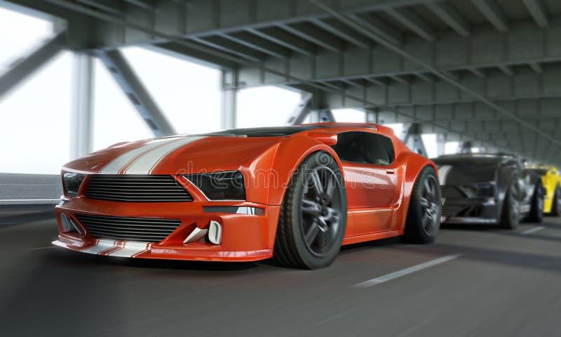 Hochgeschwindigkeitsshowdown des exotischen Rennwagens über einer Stadtbrücke Generische Fahrzeuge stock abbildung