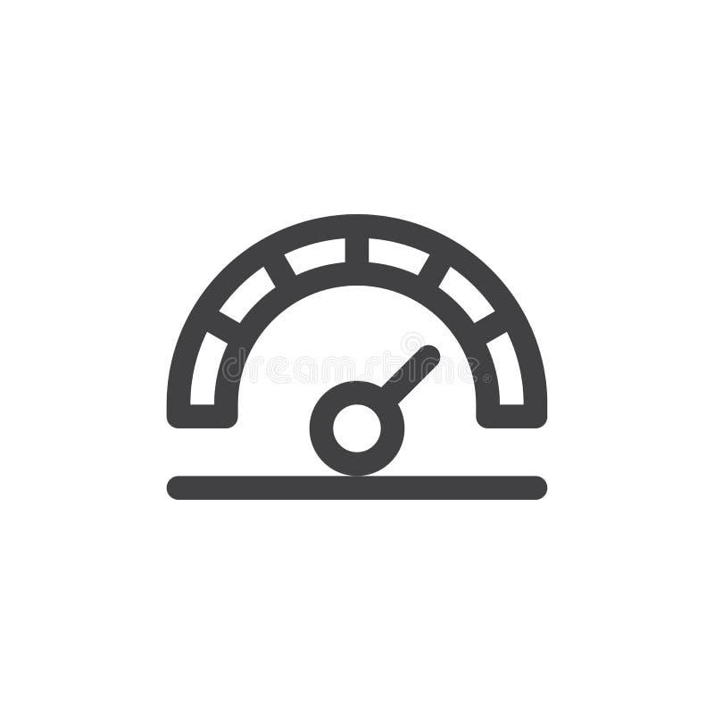 Hochgeschwindigkeitsstreckeikone, Entwurfsvektorzeichen, lineares Artpiktogramm lokalisiert auf Weiß vektor abbildung