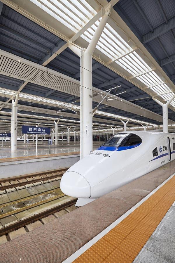 Hochgeschwindigkeitszug reist von der Station ab lizenzfreie stockbilder