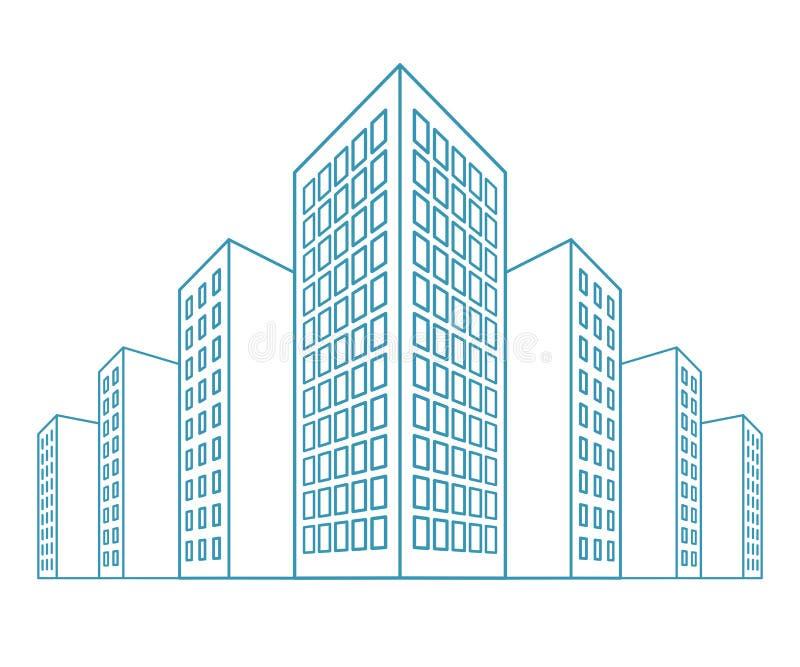 Hochhäuser, Wohnhaus, Wohnungshäuser, Wohnblöcke, Kondominien, Stadtansicht in Entwurfsart Vektor stock abbildung