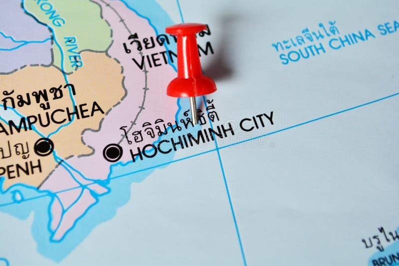 Hochiminh city vietnam map. Macro shot of hochiminh city vietnam map with push pin stock photos