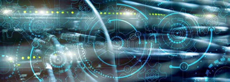 Hochleistungsleistung Zahnrad auf dem Supercomputer Hintergrund lizenzfreie abbildung