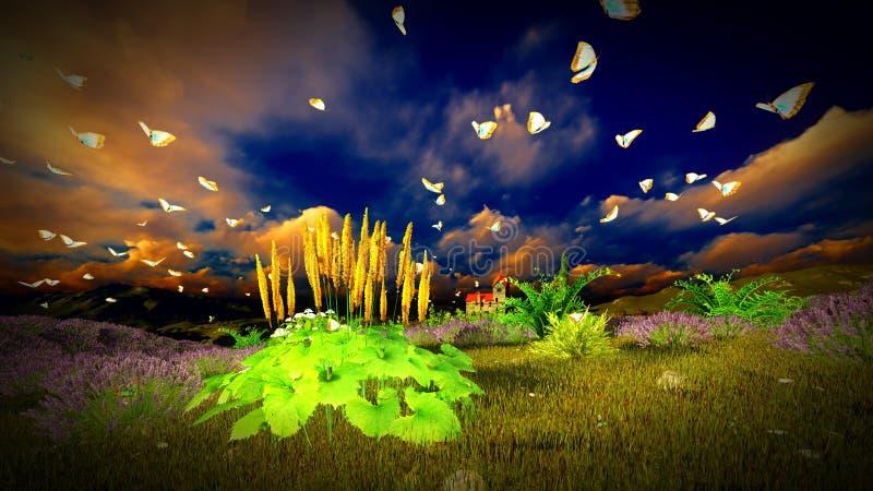 Hochragende Felder des Lavendels 9ver des Schlosses vektor abbildung