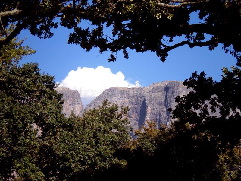 Hochragende Steil-mit Seiten versehene Berge in Boschendal, Südafrika lizenzfreie stockfotos