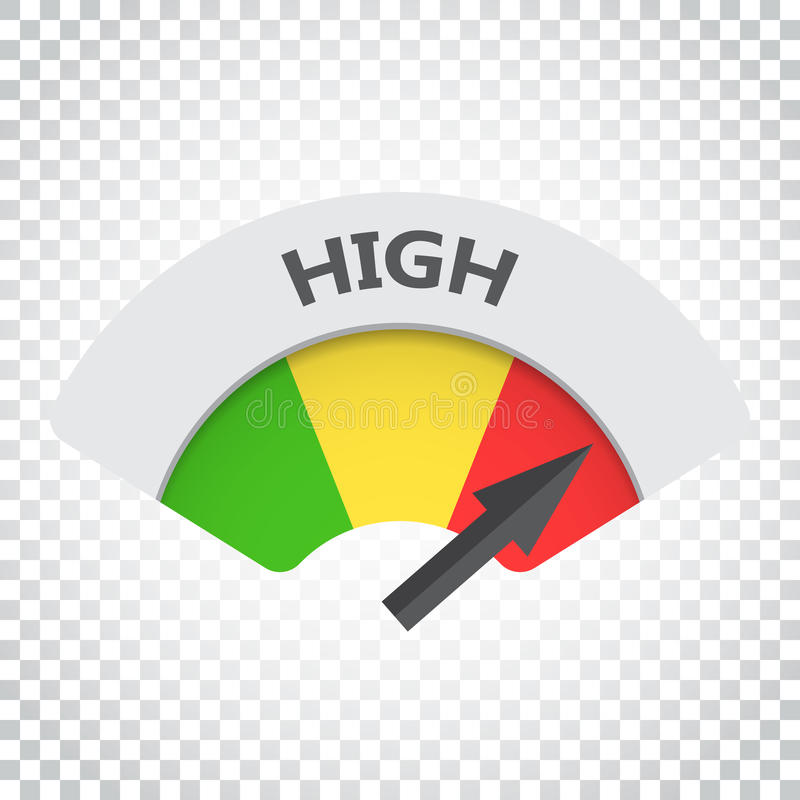 Hochrangige Risikomessgerät-Vektorikone Hohe Brennstoffillustration auf ISO lizenzfreie abbildung
