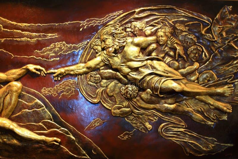 Hochrelief-Skulptur der griechischen Mythologie stockfoto