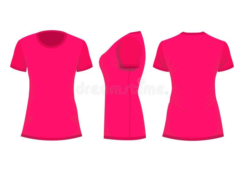 Hochrot/das T-Shirt der rosa Frau in der Rückseite, in der Front und in den Seitenansichten lizenzfreie abbildung