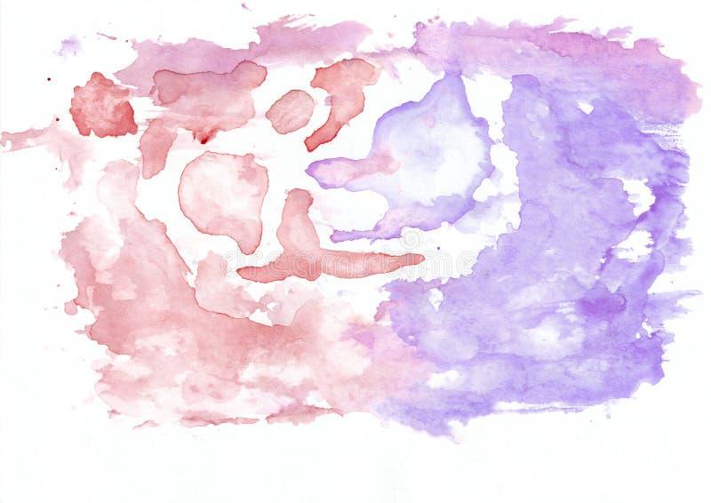 Hochrot oder roter und violetter Lavendel mischten abstrakten Aquarellhintergrund Es ` s nützlich für Grußkarten, Valentinsgrüße, lizenzfreie abbildung