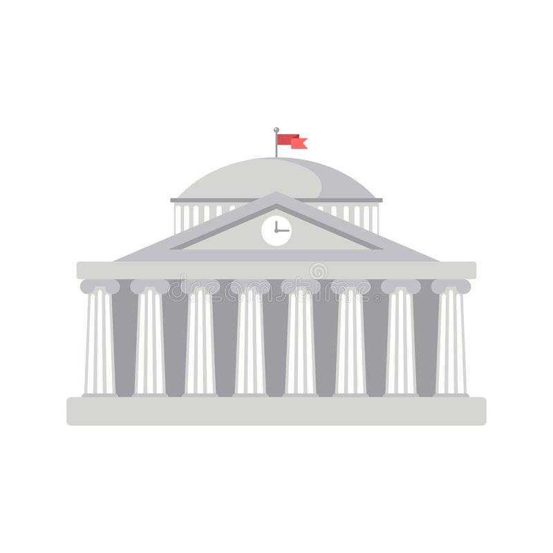 Hochschulgebäudezeichen, Bank, Museum, Bibliothek, Parlament Klassische römische Architektur Griechenlands stock abbildung