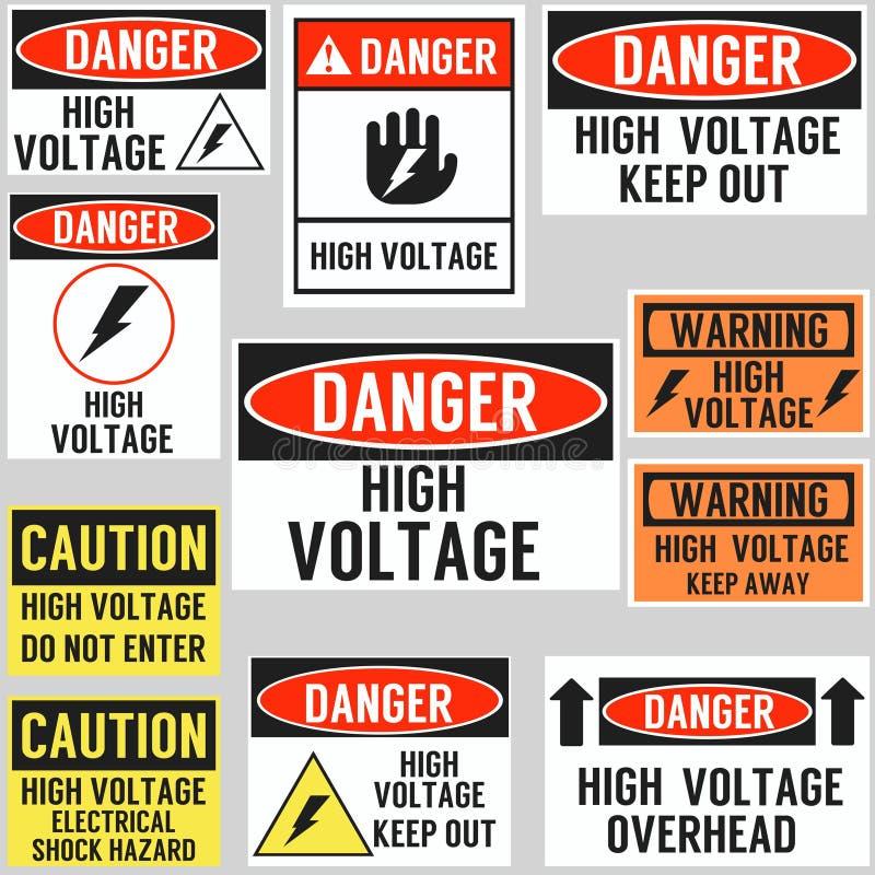 Hochspannungsgefahrenwarnzeichen-Konzeptplakat stock abbildung