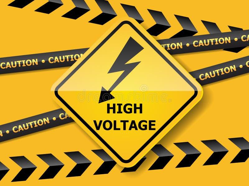 Hochspannungszeichen auf gelber Wand lizenzfreie abbildung
