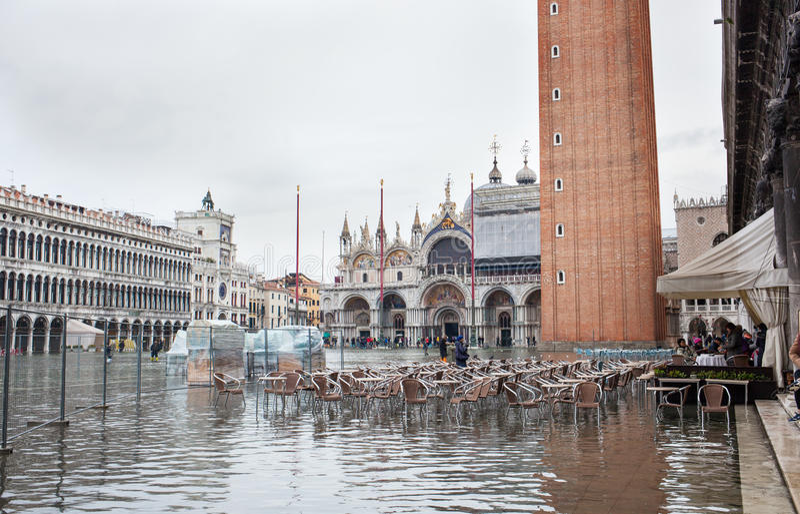 Hochwasser in Venedig, Italien lizenzfreies stockfoto