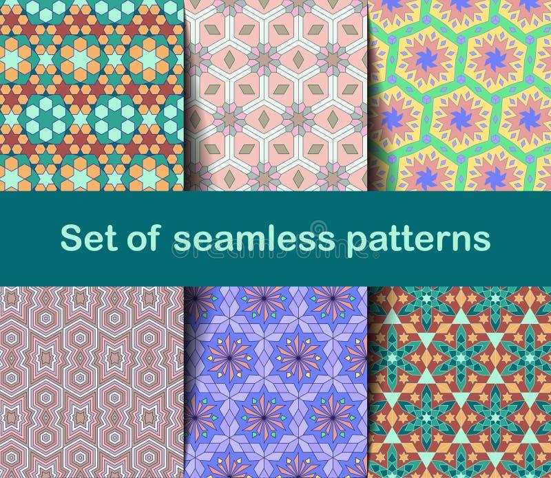 Hochwertige bunte Tapete in der islamischen oder arabischen Art Nahtlose asiatische Muster für Hintergründe und Einladungen Girih lizenzfreie abbildung