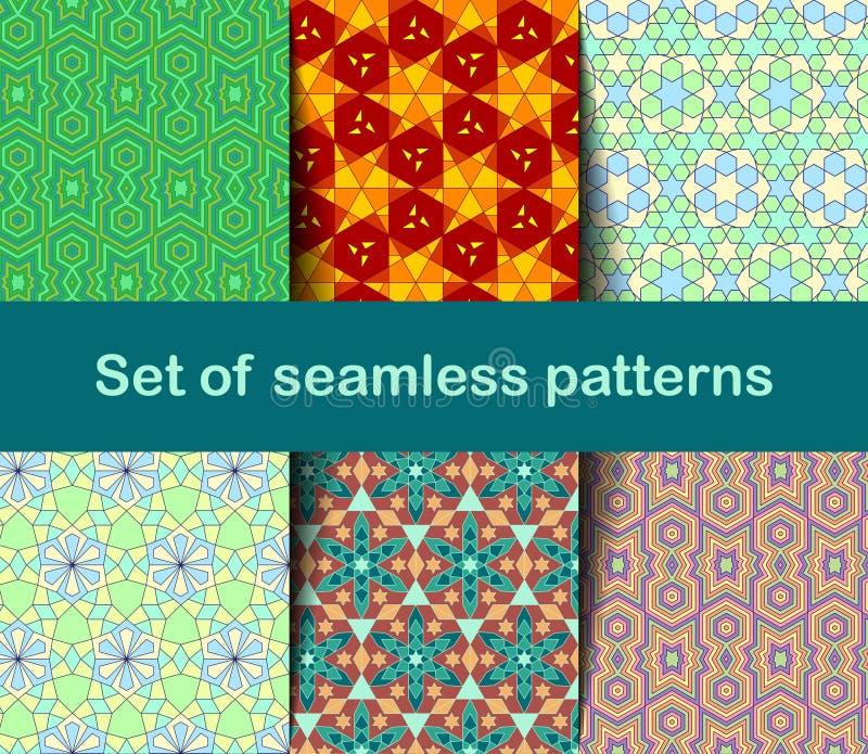 Hochwertige bunte Tapete in der islamischen oder arabischen Art Nahtlose asiatische Muster für Hintergründe und Einladungen Girih vektor abbildung