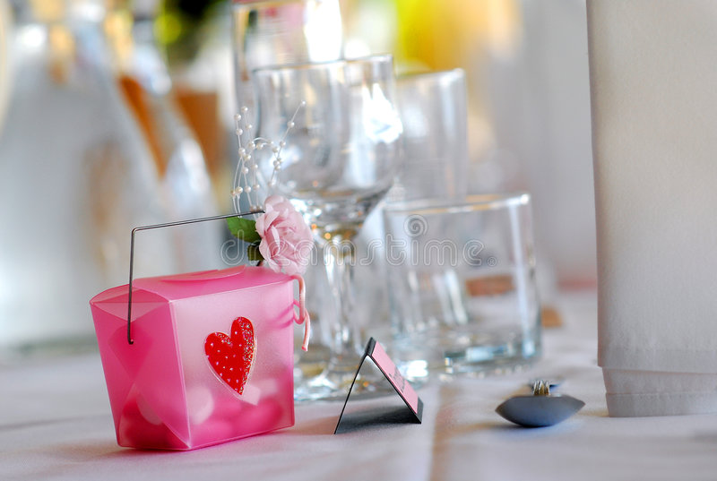 Hochzeit bombonierie bei Empfang Tabelle lizenzfreie stockfotografie