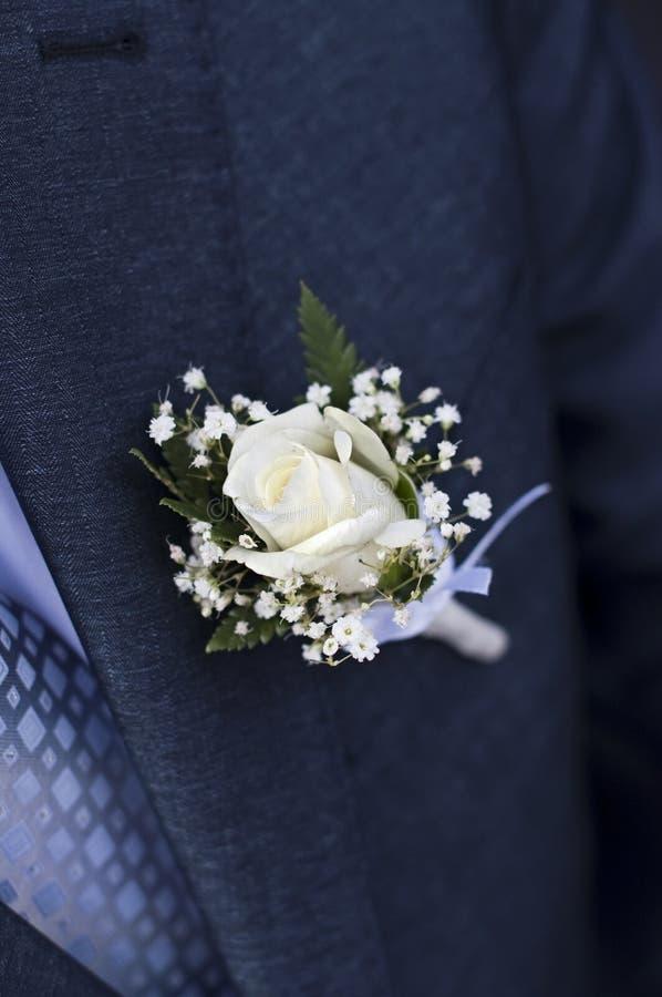Hochzeit Boutonniere stockfoto