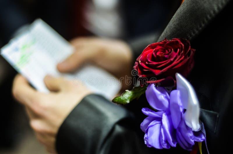 Hochzeit Boutonniere lizenzfreies stockfoto