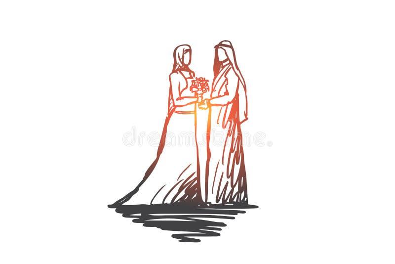 Hochzeit, Braut zusammen Betrothal, Islamkonzept Hand gezeichneter lokalisierter Vektor vektor abbildung