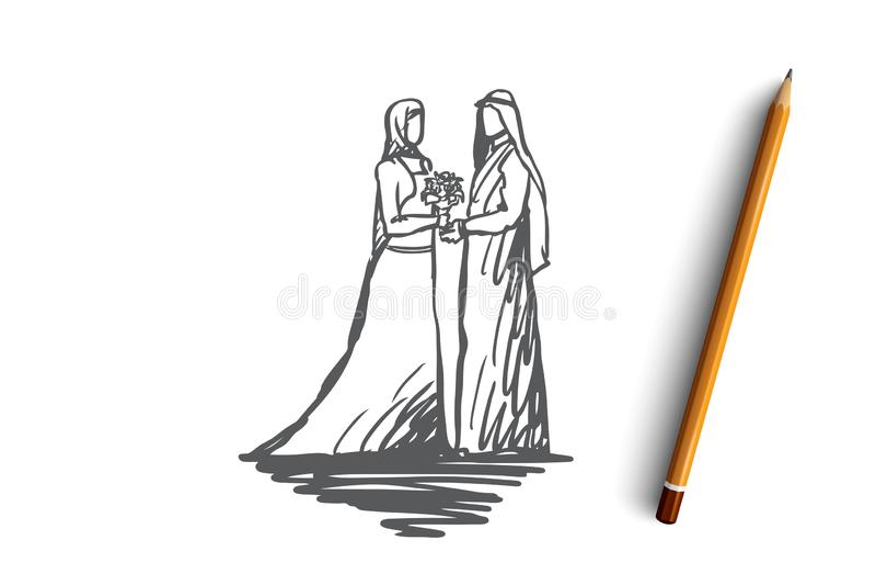 Hochzeit, Braut zusammen Betrothal, Islamkonzept Hand gezeichneter lokalisierter Vektor stock abbildung