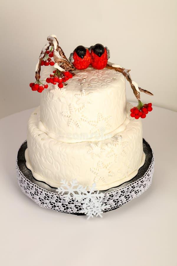 Hochzeit cacke Winterthema lizenzfreies stockfoto