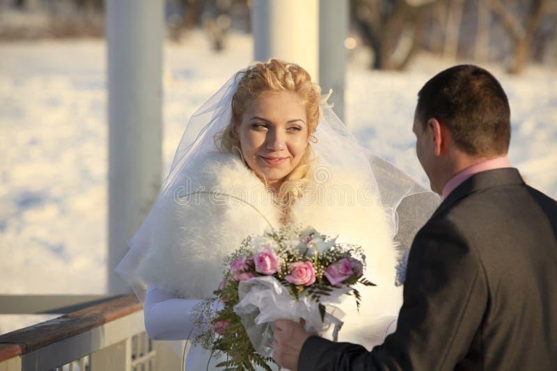 Hochzeit geschossen von der Braut und vom Bräutigam stockfoto