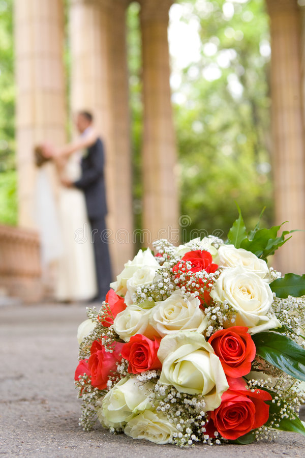 Hochzeit geschossen von der Braut und vom Bräutigam stockfotos