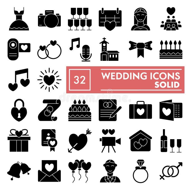 Hochzeit Glyph-Ikonensatz, Liebessymbole Sammlung, Vektorskizzen, Logoillustrationen, Heirat unterzeichnet feste Piktogramme vektor abbildung