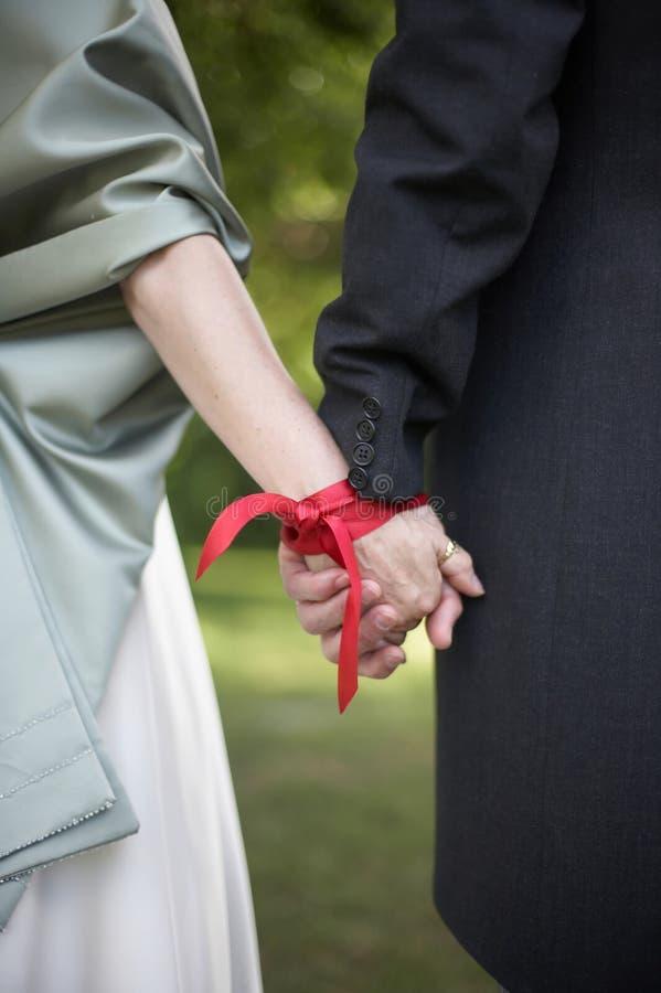 Hochzeit Handfasting Zeremonie lizenzfreies stockbild