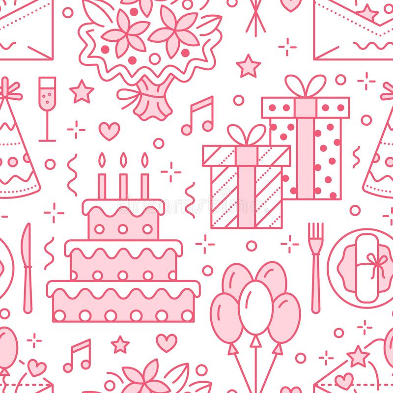 Hochzeit, nahtloses Muster der Geburtstagsfeier lizenzfreie abbildung