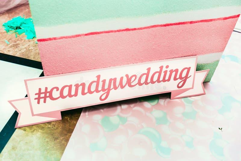 Hochzeit photozone in einer Süßigkeitsart Candywedding stockfotos