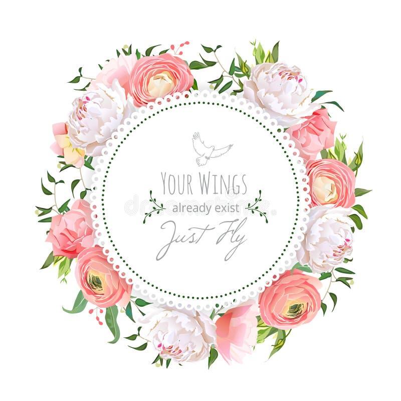Hochzeit Ranunculus, Pfingstrose, stieg, Gartennelke, Grünpflanzen rundes v stock abbildung