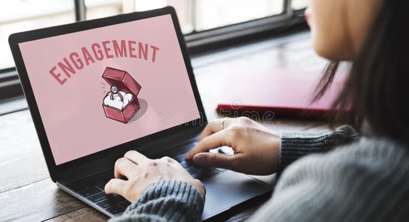 Hochzeit Ring Box Proposal Graphic Concept lizenzfreie stockbilder