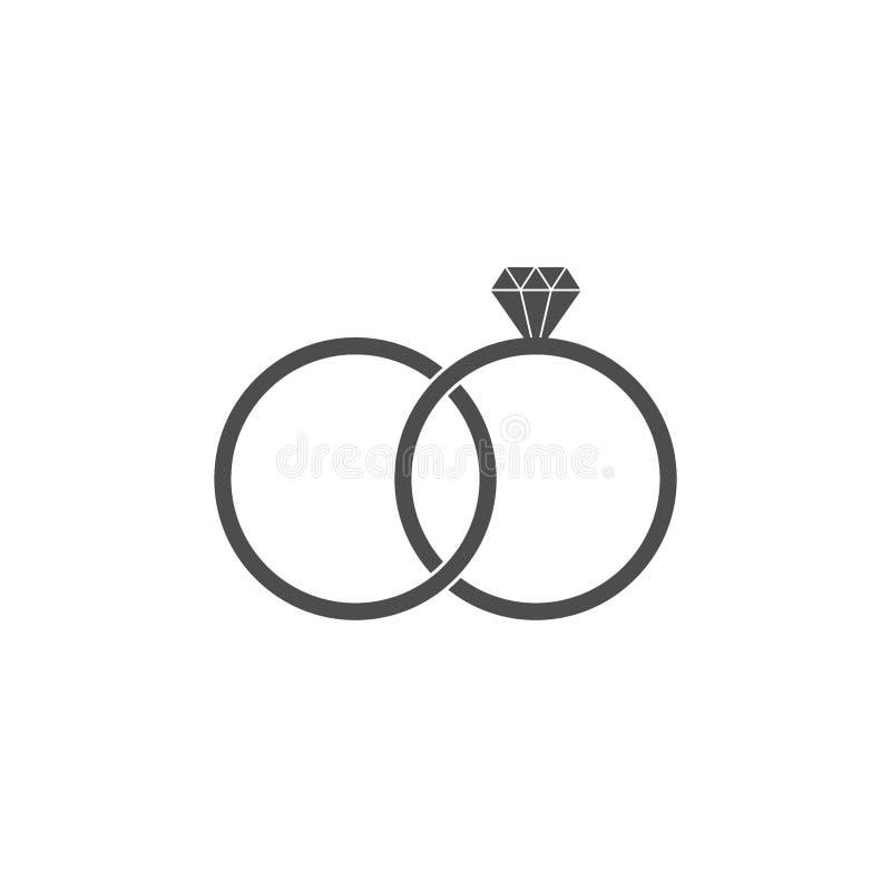 Hochzeit Ring Icon Vektorillustration, flaches Design stock abbildung