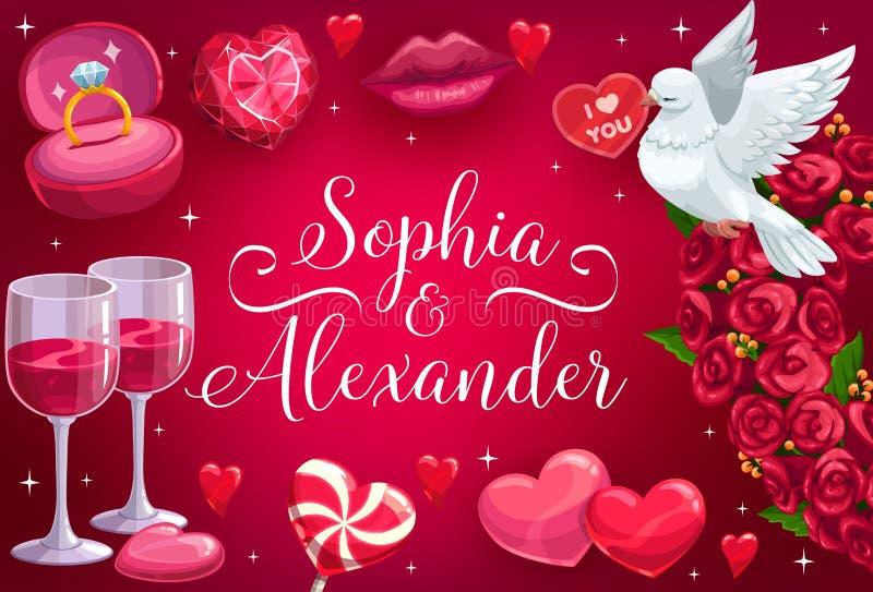 Hochzeit sparen das Datum, die Rosenblumen und die Herzen lizenzfreie abbildung