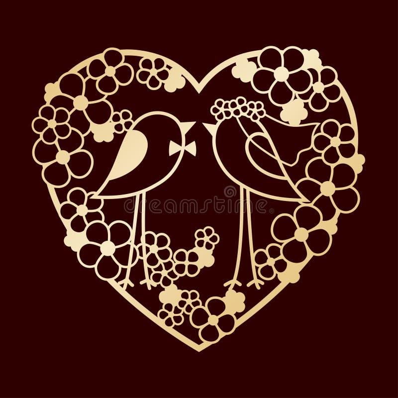 Hochzeit von zwei Vögeln unter den Blumen Openwork Herzkranz von Blumen Laser-Ausschnitt oder vereitelnde Schablone lizenzfreie abbildung