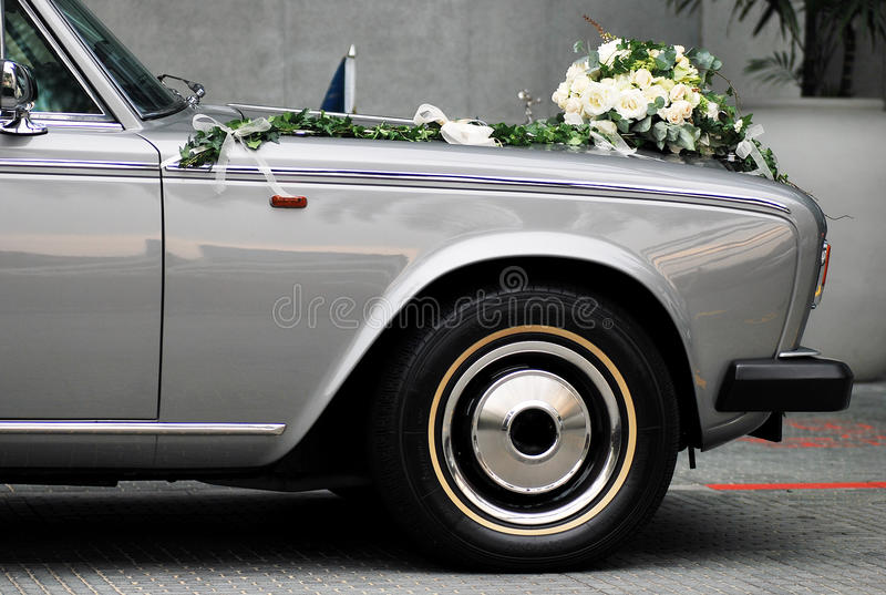 Hochzeits-Auto stockfotos