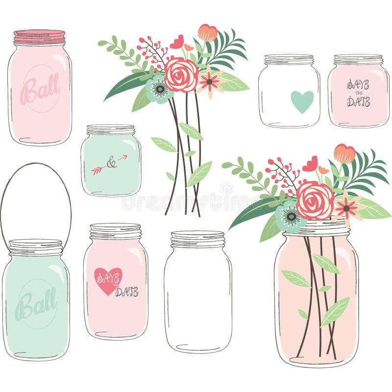Hochzeits-Blume mit Mason Jar lizenzfreie abbildung