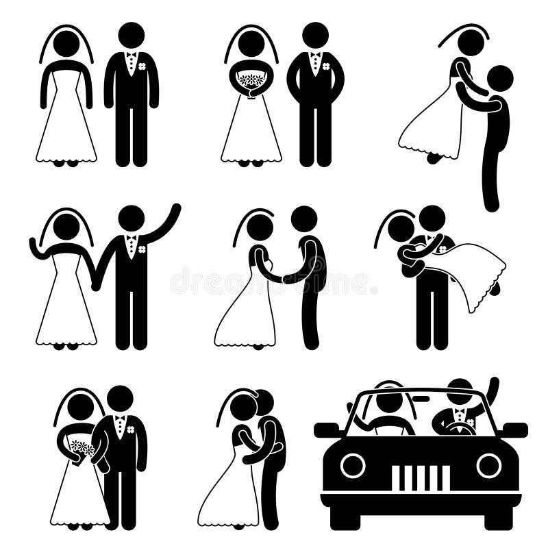 Hochzeits-Braut-Bräutigam-Verbindungs-Piktogramm vektor abbildung