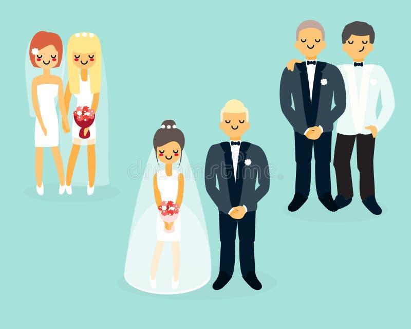 Hochzeits-Charakterikonen des Vektors flache eingestellt stock abbildung