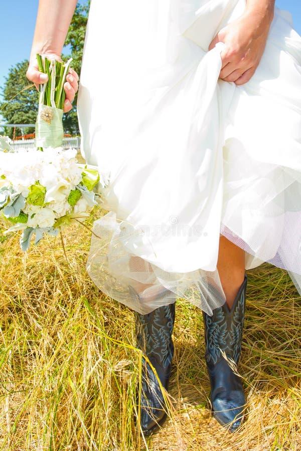 Hochzeits-Cowboystiefel lizenzfreies stockfoto