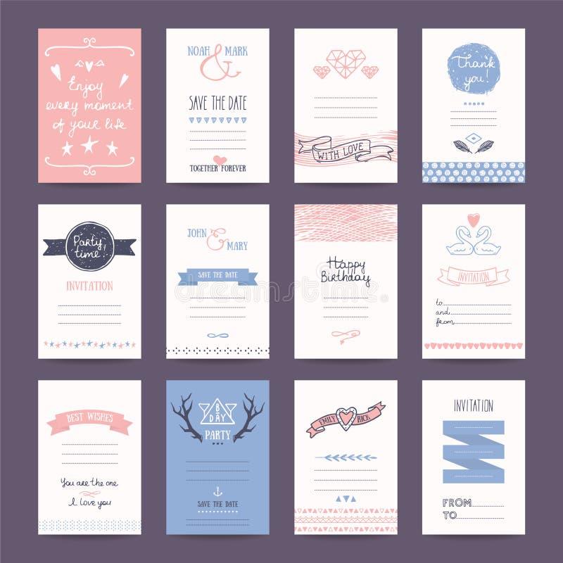 Hochzeits-Einladung, Geburtstagsfeier-Karte Tempates lizenzfreie abbildung