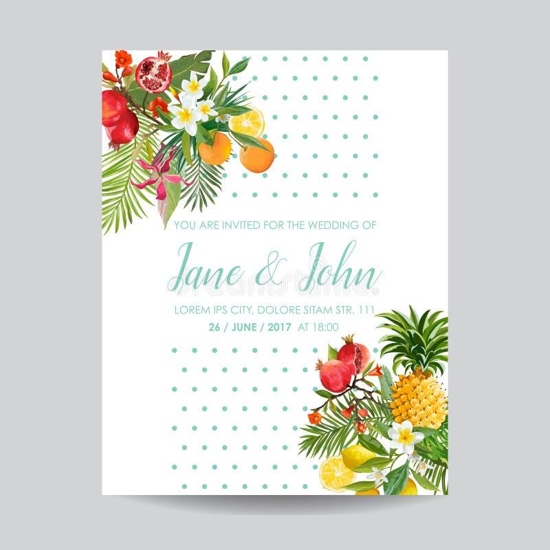 Hochzeits-Einladung mit tropischen Früchten und Blumen Gruß Abwehr die Datums-Karte mit Florenelementen für Jahrestag stock abbildung