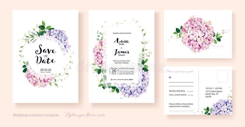 Hochzeits-Einladung, sparen das Datum, danke, rsvp Karte Designschablone Vektor Hortensieblumen, Efeuanlagen stock abbildung