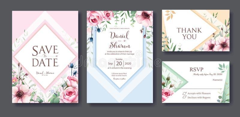 Hochzeits-Einladung, sparen das Datum, danke, rsvp Karte Designschablone Vektor Königin von Schweden stieg Blume, Blätter, Anemon stock abbildung